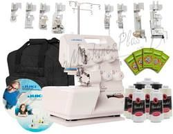 Juki Pearl Line MO-654DE 2/3/4 Thread Serger w/ BONUS Package Includes Juki Instructional DVD Video, Juki Electronic Workbook, Juki 8 Foot Kit, 8 Cones of Thread, 50 Organ Needles, and Hemline Serger Tote Bag - Redeem Discount using Sewing Machines Plus Coupon on your online order also get free shipping