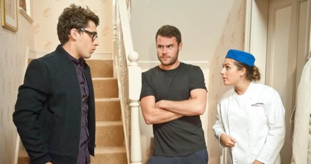 Finn Barton (Joe Gill), Aaron Livesy (Danny Miller) and Victoria Sugden (Isabel Hodgins). September 2014.
