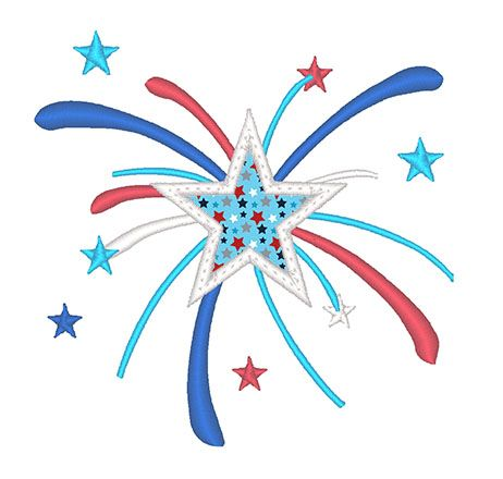 Designs :: Occasions :: July 4th :: Fireworks Star Applique