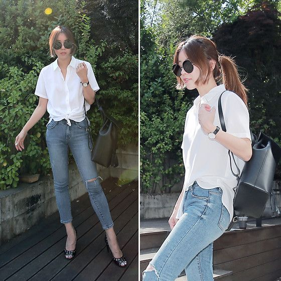 Get this look: http://lb.nu/look/8734663  More looks by Rekay Style: http://lb.nu/rekaystyle  Items in this look:  Uniqlo White Shirt, Daniel Wellington Classic Petite Watch, Le Parmentier Leather Backpack, Skinny Jeans   #casual #chic #street #kfashion #koreafashion #kstyle #seoul #streetfashion #fashionbloggerinkorea