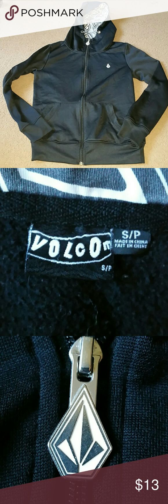 Volcom women's size small black zip up jacket Volcom womens size small black zip up jacet. Long sleeves, inside of the hood is black and white pattern. Has been worn but lots of life left. Volcom Tops Sweatshirts & Hoodies