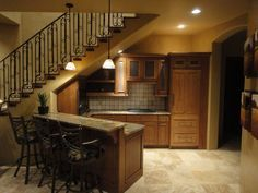 Kitchen Under Stairs, Custom Home Design, Jeff Andrews,  & Under Stairs Bar - Traditional Basement By Andrews Home Design Group Llc