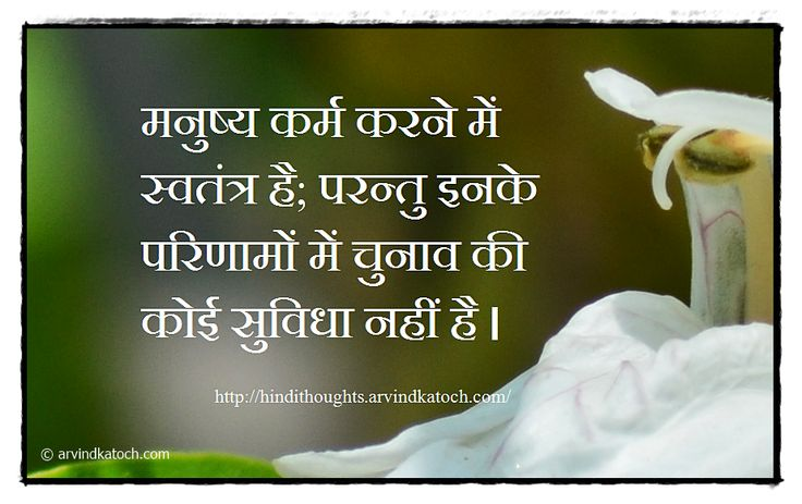 Best of Hindi Thoughts and Quotes: Hindi Thought Picture Message (Man is free to act/मनुष्य कर्म करने में स्वतन्त्र है)