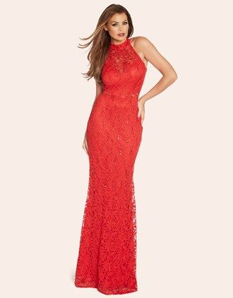 Jessica Wright Sequin Lace Halter-neck Maxi Dress