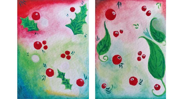 "Holly, original watercolor, 5""x7"" watercolor painting, postcard size watercolor painting, holly, Christmas theme watercolor, www.radali.co"
