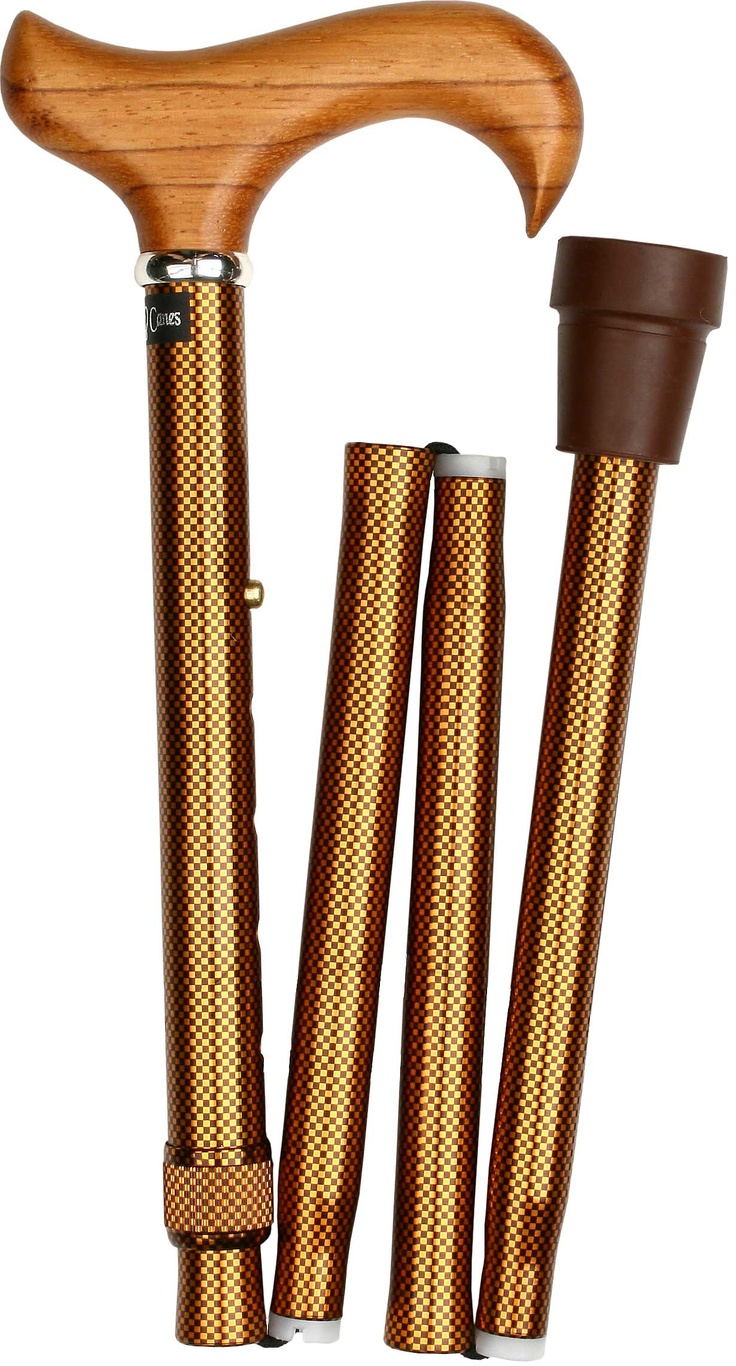 Folding Cane Rosewood Derby Handle Walking Cane with Adjustable Aluminum Shaft and Collar