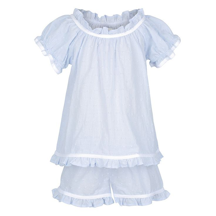 These gorgeous pyjamas are made from a Swiss Dot fabric, a sheer cotton embroidered with small dots. Originating in 1750 in St. Gallen, Switzerland the Swiss Dot Fabric became popular for baby clothes and wedding dresses because of its light and beautiful qualities. Presented in a classic combination of powder blue with white contrast trim these pyjamas are detailed with a soft ruffled neckline, capped sleeves, mid thigh shorts and a comfy elastic waist. Machine Washable. 100% Cotton…