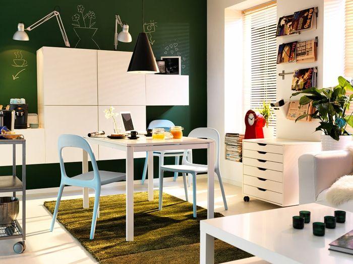 esszimmermöbel kleines esszimmer grüner teppich schöne deko