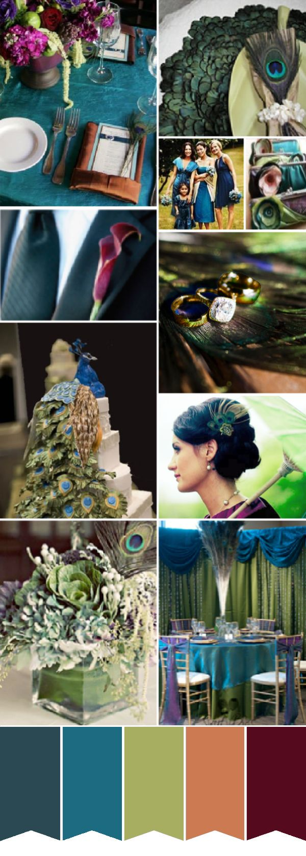 Peacock wedding color palette. I probably wouldn't go all out peacock, but the colors are GORGEOUS.
