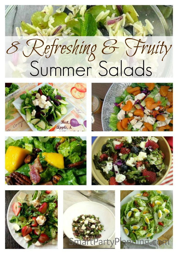 8 Simple fruity summer salads that will convince you that salads are not boring! The whole family will live these easy fruity salad recipes.