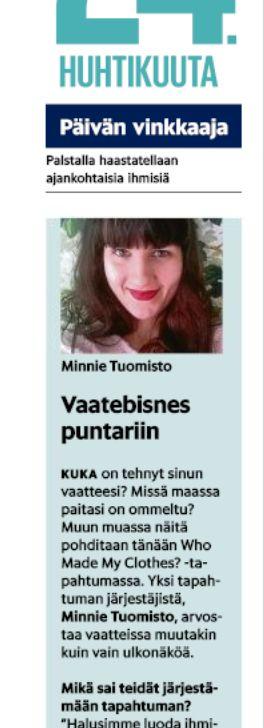 Päivän vinkkaaja -juttu Helsingin Sanomissa 24.4.2015.