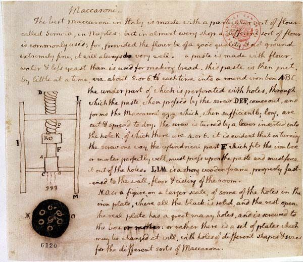 don't know what to cook tonight? Here is Thomas Jefferson's recipe for maccaroni (without cheese) (he actually describes spaghetti)    Included is a design by the man himself for a pasta press.  Enjoy!  (Thomas Jefferson noted these plans for a macaroni or pasta machine while touring northern Italy in 1787.)