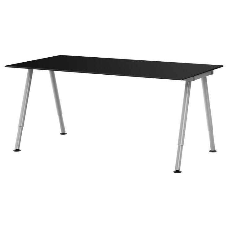 Galant desk glass black a leg silver color ikea for Ikea glass work desk