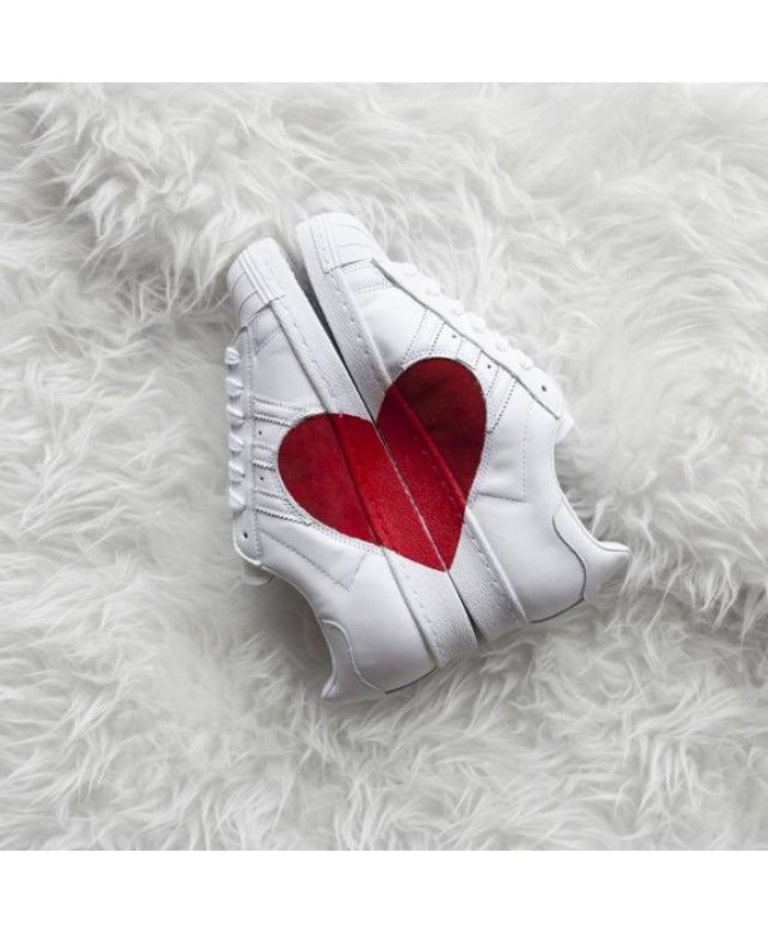 Heart White 80s Trainers Adidas Sale Cheap Superstar Half Red I7TAq
