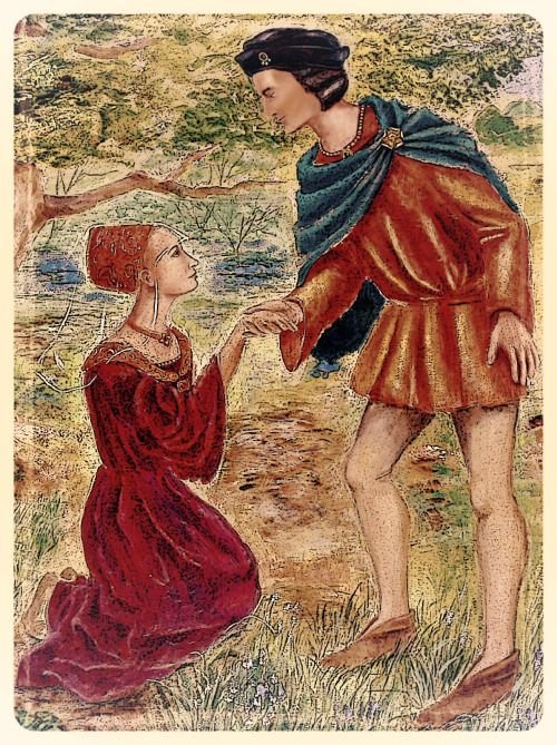 Edward IV encounter with Elizabeth Woodville, Lady Grey  This image is a posterized digitization of a wall painting in Grafton Village Hall. It depicts the moment when Yorkist king Edward IV allegedly fell for his future queen in the forest of Whittlewood in Northamptonshire. The tree behind them is a famous oak (known as The Queen's Oak) which was said to have stood in the Grafton Estate for several hundred years.