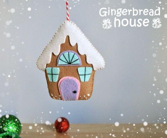 Ornements de Noël se sentait pain d'épice maison par MyMagicFelt