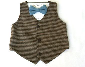 Boys Brown Vest Toddler Brown Vest Baby Boy by fourtinycousins