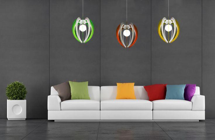 Lampadario Sospeso in policarbonato e plexiglass colorato di design