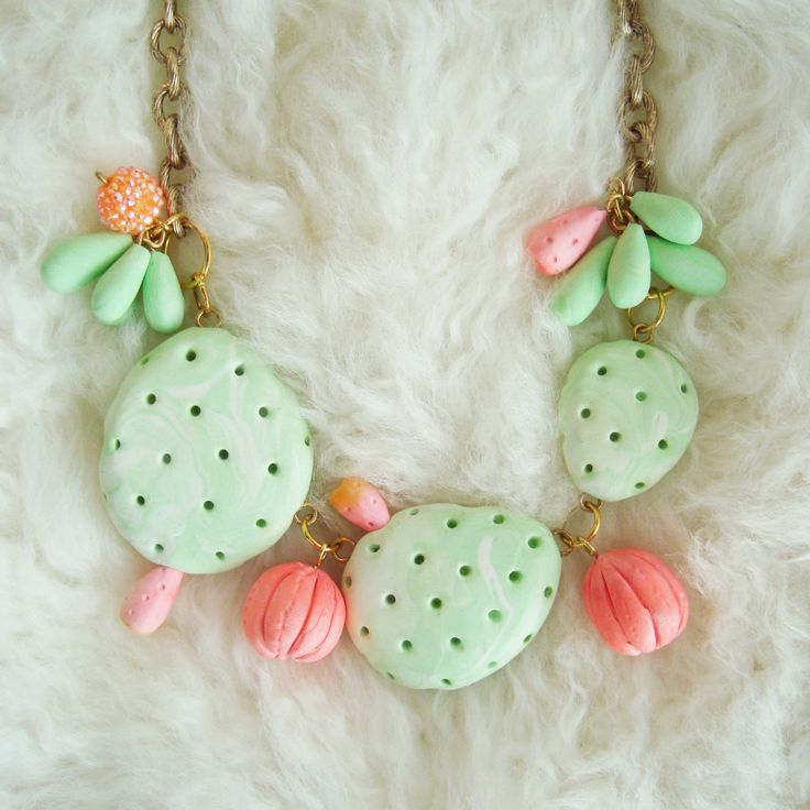 kawaii polymer clay cactus necklace. kawaii cactus. flora collection. by aniatricashop on Etsy