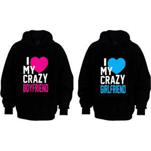 Couple Matching Hoodies - I Love My Crazy Boyfriend & Girlfriend - Black - S-XXL - Best Gift Ever - Cute