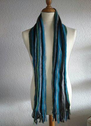 Kaufe meinen Artikel bei #Kleiderkreisel http://www.kleiderkreisel.de/accessoires/strickschals/144074433-strickschal-mit-blauen-grunen-schwarzen-und-grauen-streifen-von-appetizer