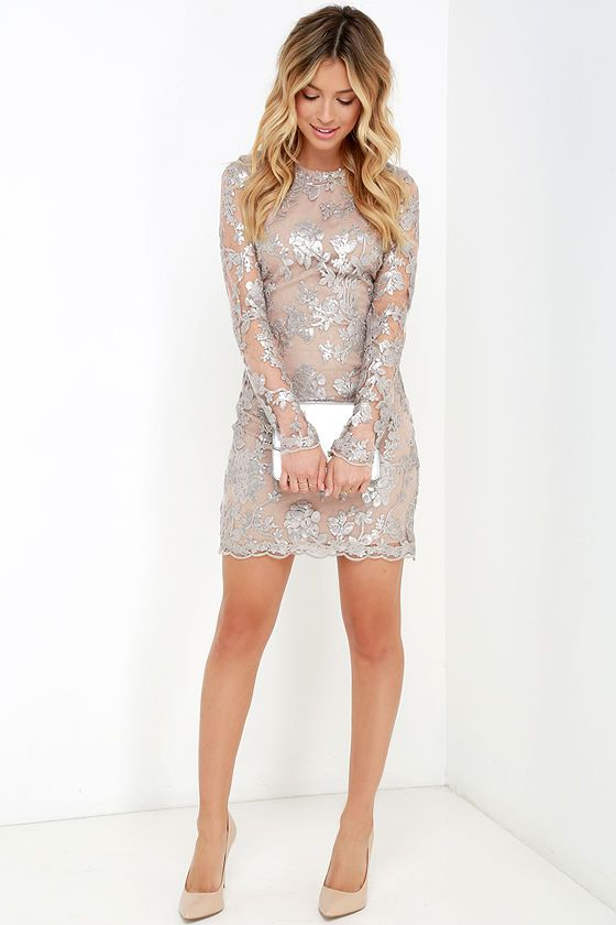 Dress the Population Grace Silver Sequin Dress at Lulus.com!