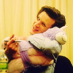 and here's Matt Smith with a unicorn pillow pet... Just to make your day