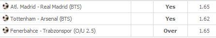 146 - Tottenham - Arsenal @ KGvar 1.4 239 - Atletico Madrid - Real Madrid @ KGvar 1.6 253 - Fenerbahçe - Trabzonspor @ Üst 1.4