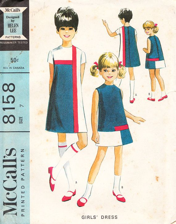 1960's Helen Lee Mod Shift Dress for Girls, Tweens, and young Teens - Vintage McCall's Sewing Pattern 8158 - Size 7 - UNUSED