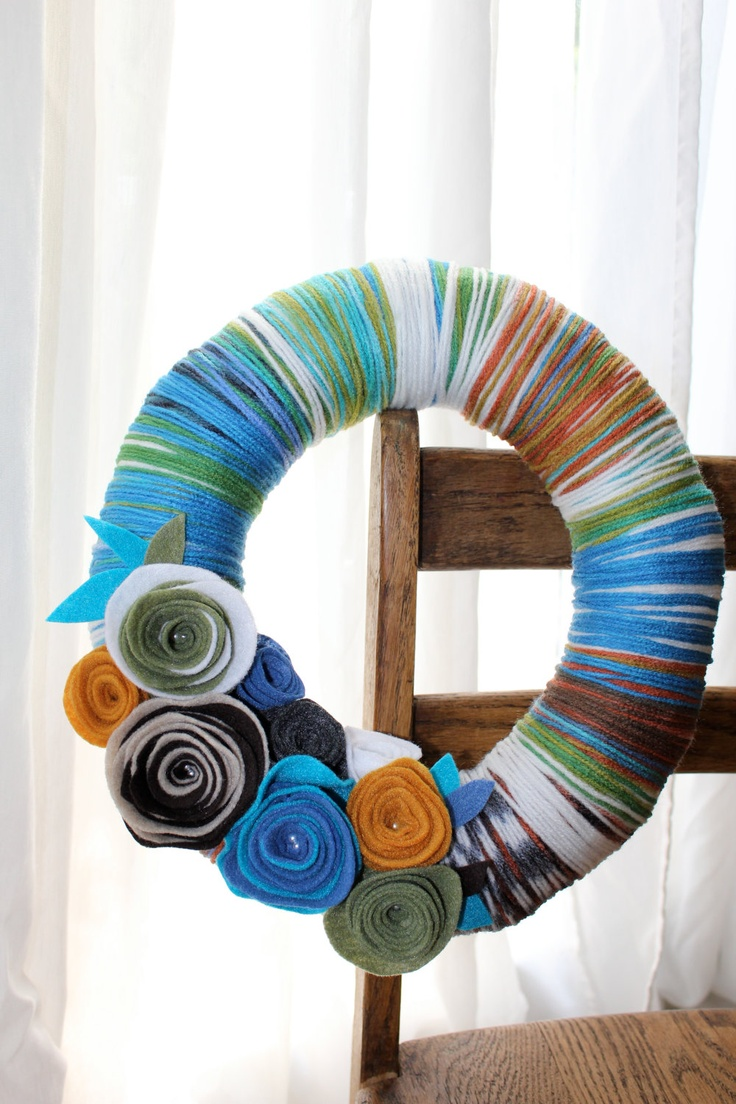 funky and fresh - chic multi-colored yarn wreath with felt flowers