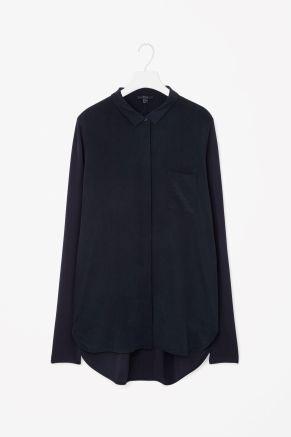 Silk front panel shirt