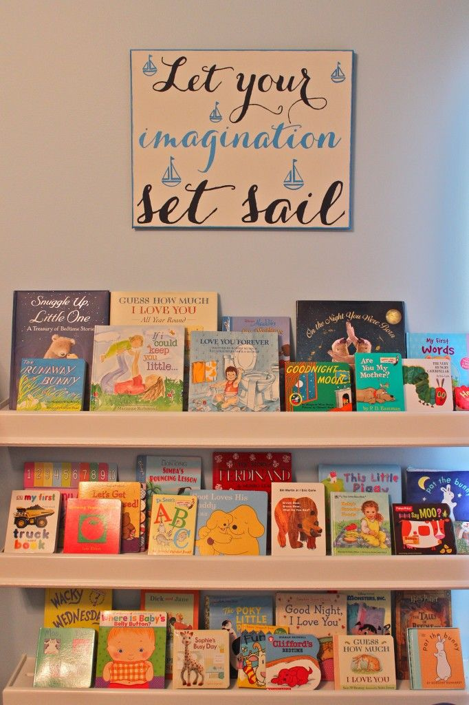 Project Nursery - Book Wall in this Nautical Nursery
