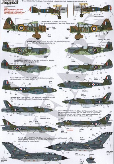 RAF No 2 Squadron 100 Years decals. MJW Models