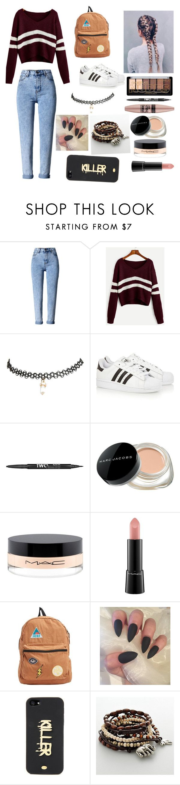 """Outfit for tomorrow"" by lauren-armstrong108 ❤ liked on Polyvore featuring WithChic, Wet Seal, adidas Originals, Charlotte Russe, Maybelline, Marc Jacobs, MAC Cosmetics, Billabong, Noir and Mudd"