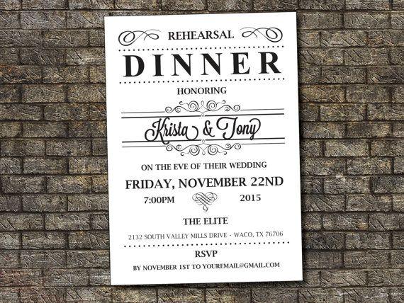 Rehearsal Dinner Invitation, Vintage Rehearsal Dinner Invitation, Black and White Rehersal Invitation 5x7 Custom, Digital, Printable