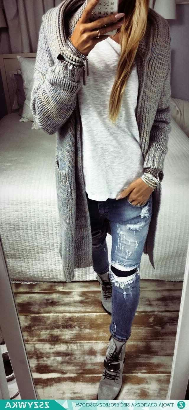 Chunky gray cardigan, white T-shirt and jeans outfit for fall or winter
