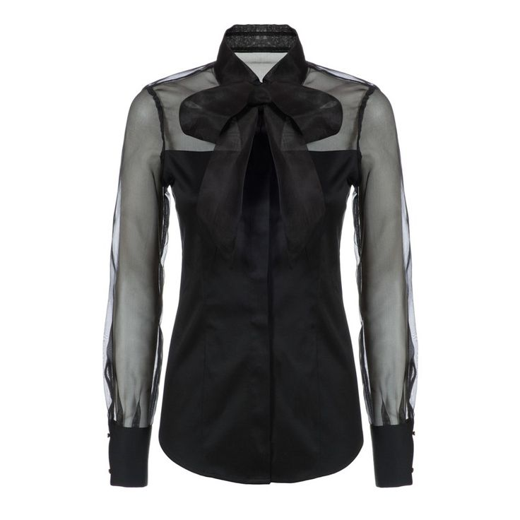 woman blouse with sheer sleeves and shoulders with bow