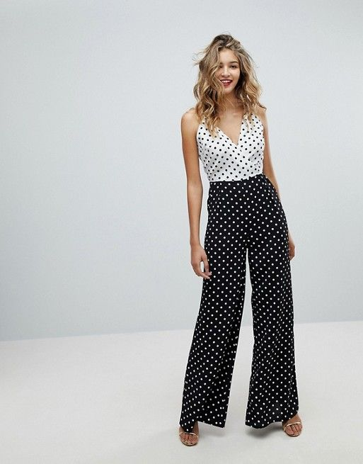 c1e097860a82 Mixed Strap jumpsuit Polka Dot - Missguided