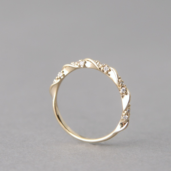 cz elegant single ribbon ring gold stacking ring engagement by kellinsilvercom - Fancy Wedding Rings