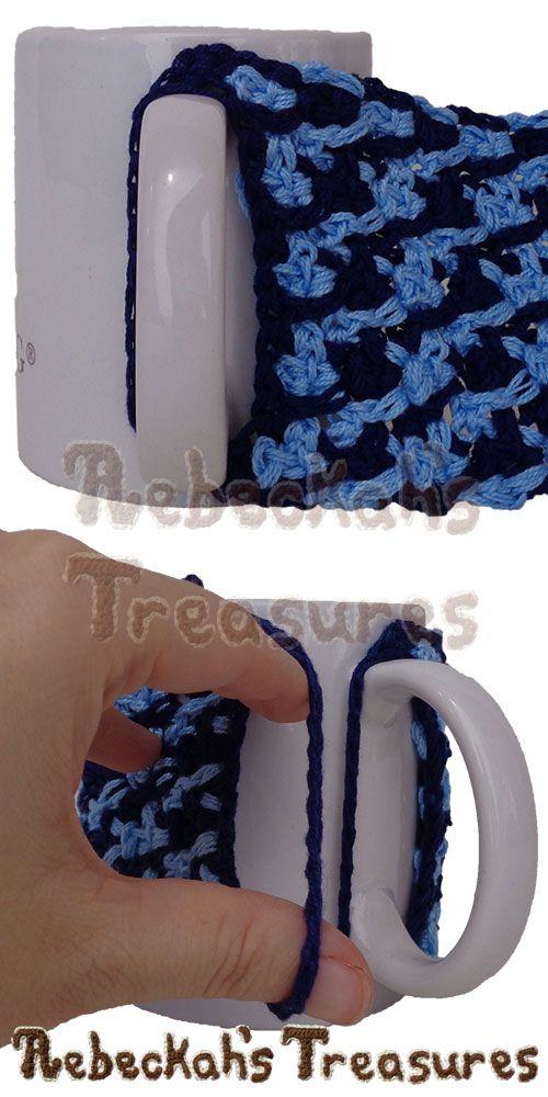 Placing the Picot Drops Mug Cozy onto a Mug | Free Crochet Pattern by @beckastreasures | Holiday Stashdown CAL 2016 with @ucrafter | #HolidayStashdownCAL2016 #crochet #mugcozy | Join today!