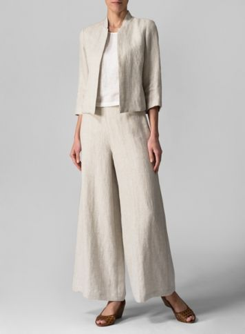 Linen Crop Blazer With Wide Leg Long Pants Set - TAAC, 286 Broomloan Rd, Glasgow, G51 2JQ