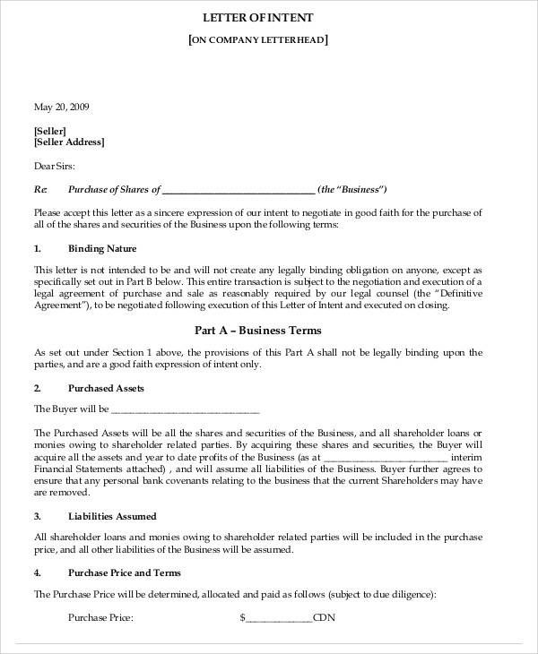 business letter intent samples pdf sample format example word - good faith letter