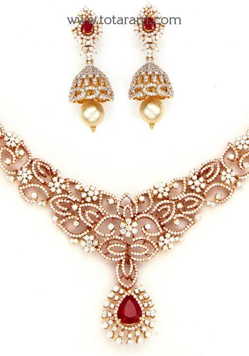18K Rose Gold Polish Diamond Necklace & Earrings Set with Ruby,Onyx Stones & South Sea Pearls: Totaram Jewelers: Buy Indian Gold jewelry & 18K Diamond jewelry
