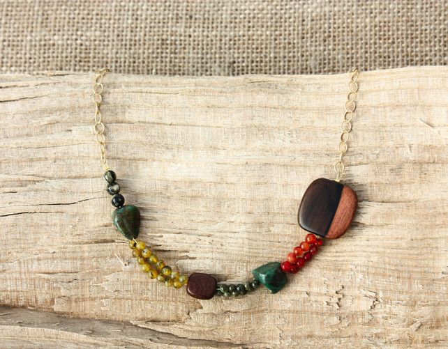 Semi-Precious Stone, Wood and Round Gold Chain Necklace £22.00