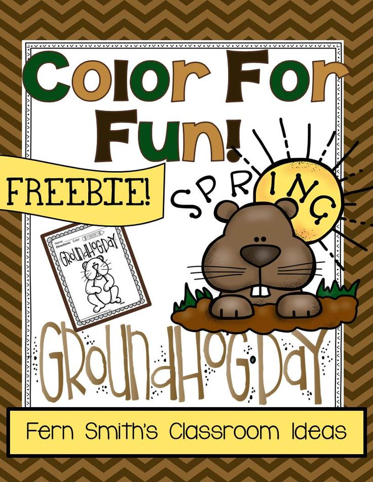 ferns freebie friday free groundhog day fun one color for fun printable coloring page - Groundhog Coloring Page Printable