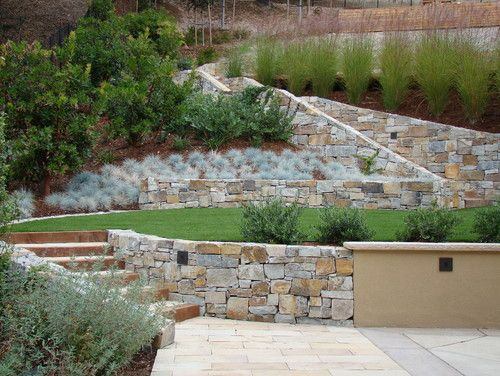 Sloped Front Yard Terraced Design, Pictures, Remodel, Decor and Ideas - page 15. Break up stone with plaster wall