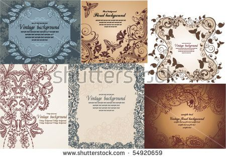 set of vintage floral backgrounds