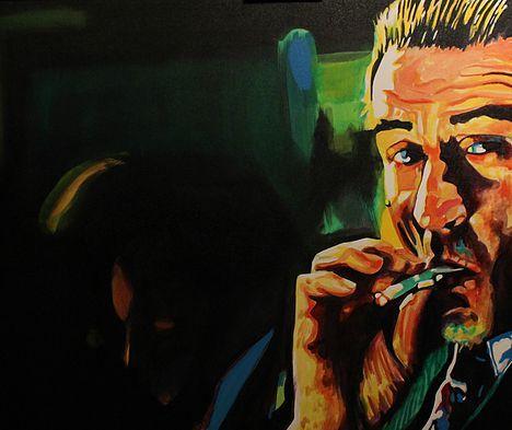 Good Fella art by Stacey Wells Robert DeNiro having a smoke. Original art by Stacey Wells