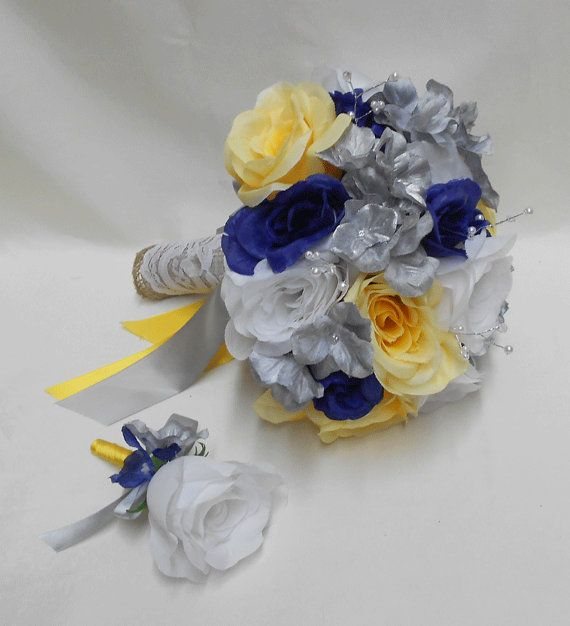 Wedding Navy Blue Yellow Grey silver Bridal Bouquet by BellinaBlue, $54.00