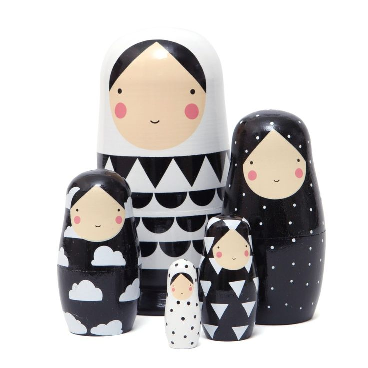 Pe Monkey Nesting Dolls Black And White Psikhouvanjou